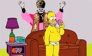 Homer är katolik. Illustration.