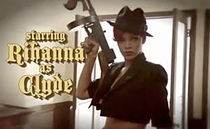 Shy Ronnie och Rihanna rånar banken. Bild från video